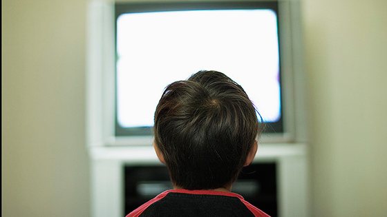 Children in front of TV